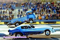 The Hemi Under Glass wheelstander vs. Chuck Poole's Chuckwagon at NED Spring FC...